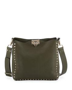Rockstud Small Leather Hobo Bag, Green. Valentino GaravaniValentino ...