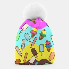Ice Cream Treats Beanie, Live Heroes Unique Outfits, Stylish Outfits, Winter Accessories, Fashion Accessories, Winter Wear, Winter Hats, Ice Cream Illustration, Cute Beanies, Ice Cream Treats