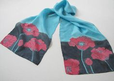 SOLD. Turquoise and Red Poppies Hand Dyed Silk Scarf via Jan Allmon Studio on Etsy.