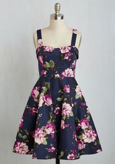 Pull Up a Cherry Dress in Navy Bouquet - Multi, Blue, Floral, Print, Pockets, Daytime Party, Vintage Inspired, 50s, Fit & Flare, Sleeveless, Fall, Woven, Better, Mid-length, Variation