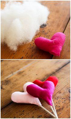 puffy fabric heart cake topper DIY