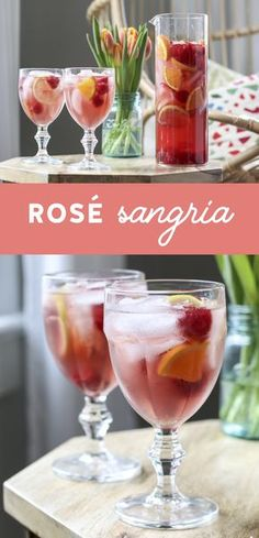This Rosé Sangria is the perfect blend of citrus, fresh berries, and rosé. A p… This rosé sangria is the perfect blend of citrus, fresh berries and rose. A perfect one recipe for and summer entertaining. Sangria Rosé, Fruity Sangria Recipe, Rose Sangria, Sangria Recipes, Wine Cocktails, Craft Cocktails, Cocktail Drinks, Cocktail Recipes, Liquor Drinks