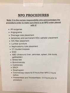 NPO: nothing by mouth Nursing School Notes, Nursing Schools, Nursing Procedures, Nursing Math, Funny Nursing, Nursing Study Tips, Med Surg Nursing, Nursing Information, Fundamentals Of Nursing