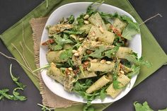 Pasta With Arugula Pesto, Sun-Dried Tomatoes, And Pine Nuts Recipe ...