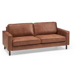 Comfortabele bank met textielen bekleding. Kleur: cognac. Afmeting: 206x97x85 cm (lxbxh). #kwantumstijl #bank