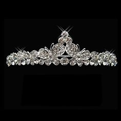 Silver Alloy Rhinestone And Pearl Dancing Butterfly Bridal Tiara – USD $ 19.99