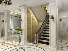 Single-story entrance hall with patterned tile floor, columns and half-landing staircase in white color scheme #design #foyers