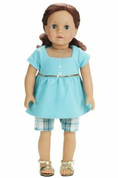 18 Inch Doll Clothes/Clothing 2 Pc. Doll Outfit Set Fits American Girl Dolls -Plaid Walking Doll Shorts & Baby Doll T by Sophia's. $17.95. Aqua & Pale Yellow Plaid Print Cotton Walking Shorts With Elastic Waist.. Hook & Loop Enclosure for Easy Dressing. 2 Piece Set. Fits American Girl Dolls and 18 Inch Dolls. Aqua Square Neckline Baby Doll Tee Shirt with Gold Sequin Trim along the Bodice and Three Pearlized  Buttons. This stylish 2 Piece Outfit is Perfect for the Doll in your...