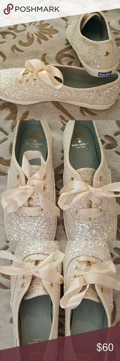 Kate Spade for Keds ~ White Wedding Glitter Keds Kate Spade for Keds, NWOT, Size 9, A stunning pair of white glitter Keds, completely designed for style and comfort. How adorable would these be worn under a wedding dress...perfect!?! Arrive with matching ribbon shoelaces. Kate Spade for Keds Shoes Athletic Shoes