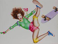 YAMAGUCHI Harumi 山口はるみ「スケートボーダー(Skateboarder)」/ 1978 / Acrylic on Board / H66.7 × W85.5cm