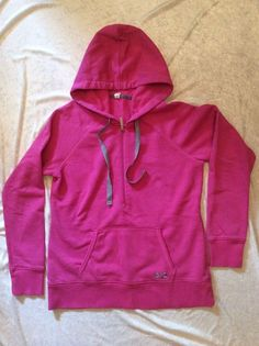 Under Armour Hoodie Sweatshirt Large Semi Fitted Cold Gear Pink Storm Pullover #UnderArmour #TracksuitsSweats