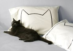 Cat Ears, Cat Nap Pillow case set in Cream, unique gift for couples,. Valentines Day Gift on Etsy, $34.00