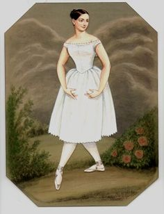 "FANNY Elssler (1810-1884), one of the most talented and celebrated ballerinas of the Romantic period. Paper Doll is based on an actual ballerina famous in the 1830s. The twist here is ""Fanny"" can be made into a real fan!. from Historical Figures Paper Dolls by Brenda Sneathen Mattox"
