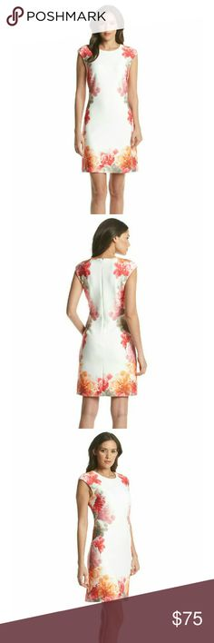 Host Pick Calvin Klein Floral Sheath Dress New with tags - Calvin Klein Floral Print Scuba Sheath Dress  Romantic floral details accent the edges of this scuba knit dress from Calvin Klein.   Crew neck  Cap sleeves  Floral print border  Hidden back zipper closure  Dry clean  Polyester/elastane   ⚡⚡⚡PRICE IS FIRM⚡⚡⚡  ⚡⚡⚡NO TRADES⚡⚡⚡ Calvin Klein Dresses