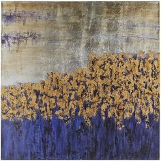 """Though we've titled it """"Unassuming,"""" our remarkable, hand-painted canvas will have quite an impact on your living, dining or bedroom areas. With its interplay of deep indigo, gold and silver, this artwork is ready to bring a dramatic counterpoint  to modern and traditional styles alike."""