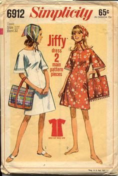 Simplicity 6912 Teen 1960s Dress Pattern Jiffy by CynicalGirl, $6.00