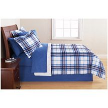 Walmart: Mainstays Complete Bedding Set, Blue Plaid. Bought two for the twin beds in the boys room.
