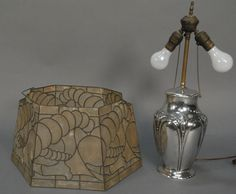 Clemens Friedell (1872-1973) sterling silver hand hammered table lamp in arts & crafts style, signed on base Friedell Pasadena Sterling with original leaded shade (top of shade with two missing parts).  ht. of vase 11 1/2in - Realized Price: $5,700.00