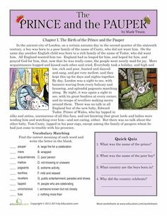 Worksheets: Reading Comprehension: The Prince and the Pauper