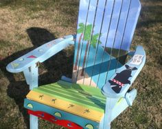 Hand Painted Adirondack Chair with an Ocean and Island theme Whimsical Painted Furniture, Painted Chairs, Composite Adirondack Chairs, Island Theme, Outdoor Chairs, Outdoor Decor, Lawn Chairs, Dining Chairs, Ikea Chairs