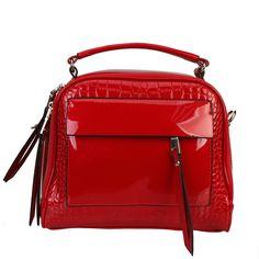 Diophy Patent Dr Style High Gloss Handbag, Women's
