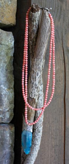 Ocean Blue and Coral for you  Sea Treasure Necklace by kimhunt
