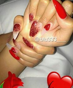 We all want beautiful but trendy nails, right? Here's a look at some beautiful nude nail art. Red Nails, Love Nails, How To Do Nails, Red Glitter Nails, Gorgeous Nails, Pretty Nails, Acrylic Nail Designs, Acrylic Nails, Acrylics