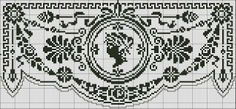 Curtain with medallion - Chart for filet crochet or cross stitch.