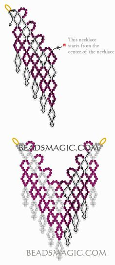 beaded necklace patterns Free pattern for necklace Cherry Berry Beading Patterns Free, Seed Bead Patterns, Beading Tutorials, Free Pattern, Pattern Ideas, Seed Bead Bracelets, Seed Bead Jewelry, Seed Beads, Diy Jewelry