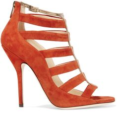 Jimmy Choo - Cutout Suede Sandals ($438) ❤ liked on Polyvore featuring shoes, sandals, bright orange, orange high heel sandals, orange shoes, orange sandals, bright orange shoes and high heeled footwear