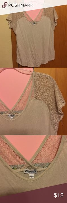 Express Lace Shoulder Top Soft. Lace shoulder detail. V-back. Very rounded v-neck. Worn once. Great condition except for a few loose strings (pictured). Express Tops Tees - Short Sleeve