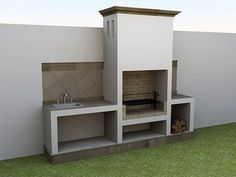 A Guide To Excellent Patio Barbecue Design Built In Braai, Built In Grill, Outdoor Bbq Kitchen, Outdoor Kitchen Design, Outdoor Barbeque Area, Parrilla Exterior, Barbecue Design, Brick Bbq, Backyard Patio