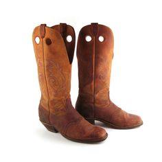 Men's Cowboy Boots Vintage 1980s Boulet by purevintageclothing