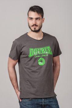 """Ανδρικό T shirt """"Double Challenge"""" Piombo"""