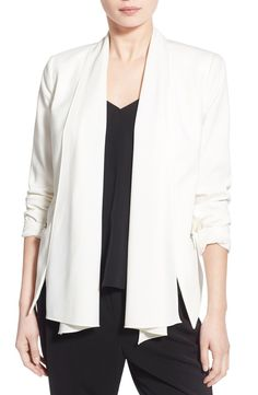 Free shipping and returns on Trouvé Convertible Open Front Jacket at Nordstrom.com. A sleek stretch-crepe jacket is ultra-versatile thanks to the drapey shawl collar, which zips off to convert the style into a sophisticated collarless look. Gleaming front-zip pockets and flattering darts finish this ingenious wardrobe must-have.