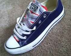 Navy blue patriotic converse stars red white and blue size 6  women's Fourth of July Independence Day tongue