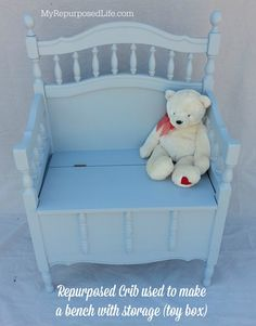 A family heirloom crib gets a new life as a toy box storage bench for the grandchildren.