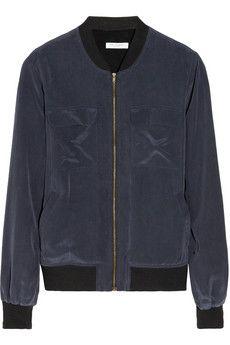 Equipment Abbot washed-silk bomber jacket | NET-A-PORTER