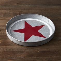 This galvanized red star tray is the perfect picnic table centerpiece.