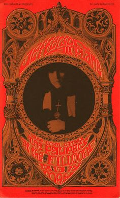 Poster by Bonnie Maclean for Jefferson Airplane & The Paupers at The Fillmore 12 - 14 May 1967
