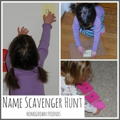 Name Scavenger Hunt- A game that combines literacy and gross motor development.  (Homegrown Friends)