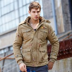 (49.84$)  Watch here - http://ai091.worlditems.win/all/product.php?id=32720041408 - 2016 Winter Jacket Men Hooded Military Coat Men Warm Windproof Multi-Pocket Casual Parka Hombre Thick Velvet Padded Coat