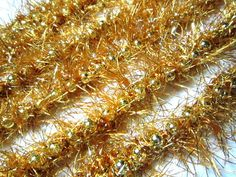 Christmas Garland Beads And Crochet With Sparkly Tinsel Faux Fur Yarn Gold Deep Metallic