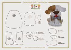ARTE COM QUIANE - Paps,Moldes,E.V.A,Feltro,Costuras,Fofuchas 3D: Molde cachorrinho de feltro