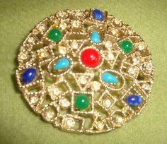 Vintage Emmons Signed Pin Brooch Rhinestone Gold Tone Jewelry Retro Mid Century
