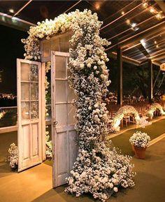 Beautiful Flower decor on rustic door by Altar, Indoor Wedding Decorations, Flower Decorations, Aisle Flowers, Wedding Flowers, Australian Wedding Dresses, Wedding Entrance, Wedding Mood Board, Rustic Doors