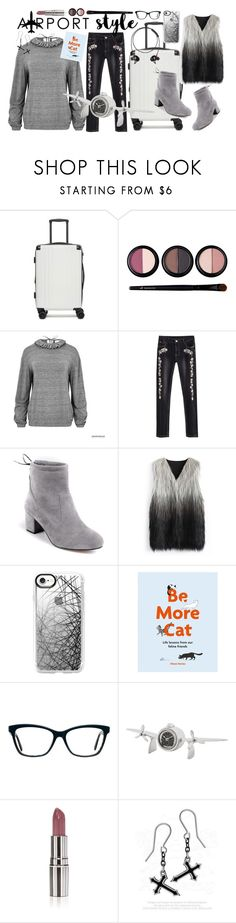 """""""Wanderlust Wonderful: Airport Style"""" by amisha73 ❤ liked on Polyvore featuring CalPak, Forever 21, Chicwish, Casetify, Chronicle Books, Eichholtz, Plane, Nude Envie and airportstyle"""
