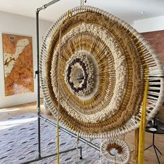Tammy Kanat Textile Sculpture, Textile Art, Diy Craft Projects, Diy Crafts, Circular Weaving, Punch Needle Kits, Wool Art, Textiles, Woven Wall Hanging