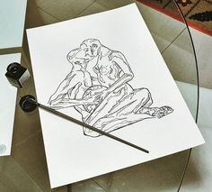 #drawing #nankin #ecoline #couple