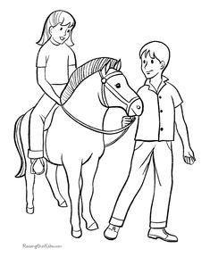 Farm picture riding and leading horse to print and color